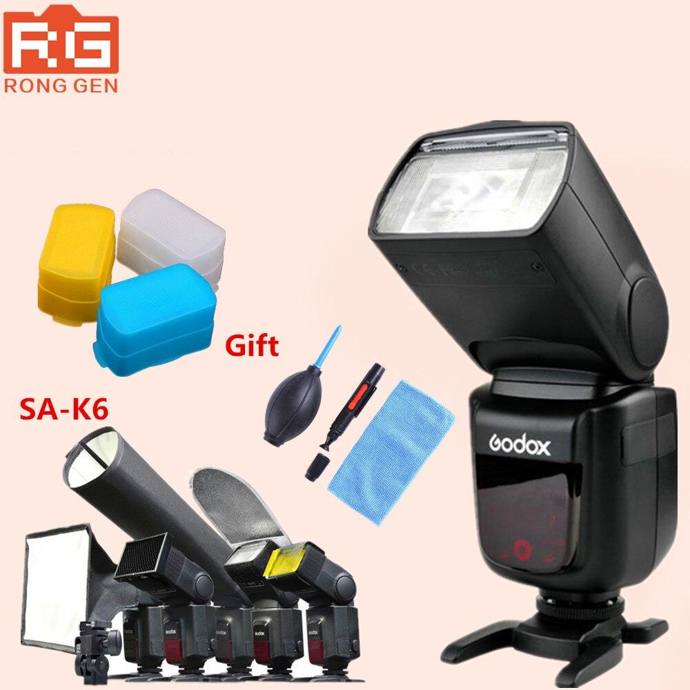 Godox V860C i-TTL HSS 1/8000s Speedilte Flash Light w/ Li-ion Battery for Canon + SA-K6+gift godox v860ii n v860iin gn60 i ttl hss 1 8000s speedlite flash w li ion battery x1t n flash transmitter optional for nikon