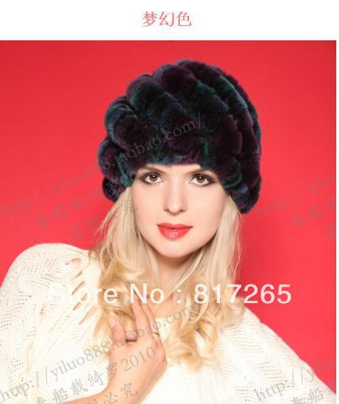 free shipping Rabbit hair hat lady winter upset warm cap fashionable woman's hat  100%  Mink fur hat  R53