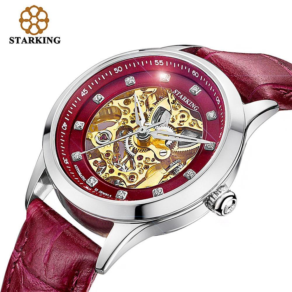 STARKING ρολόι γυναικών σκελετός αυτόματη μηχανική ρολόι νέα άφιξη χρυσή σχεδίαση γυναικών μόδας casual δερμάτινα ρολόγια Klockor