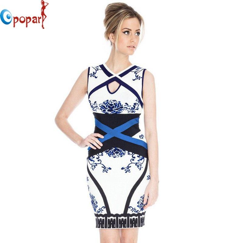 Women jacquard HL celebrity bandage dress flora sash blue white porcelain cross party dresses 2017 sexy hollow out bodycon HL943