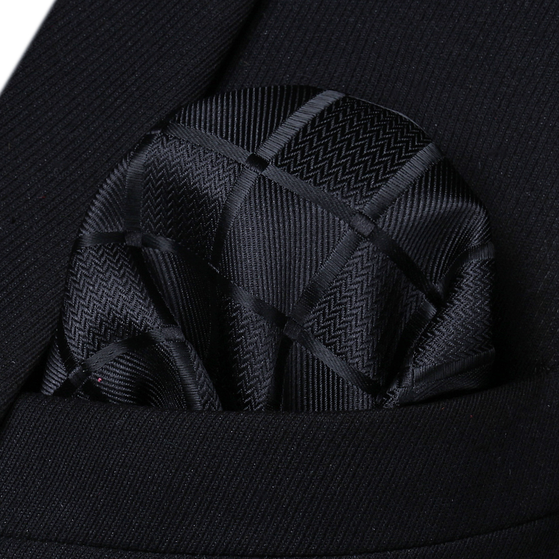 HC423L Black Check Men Silk Party Handkerchief Pocket Square Hanky