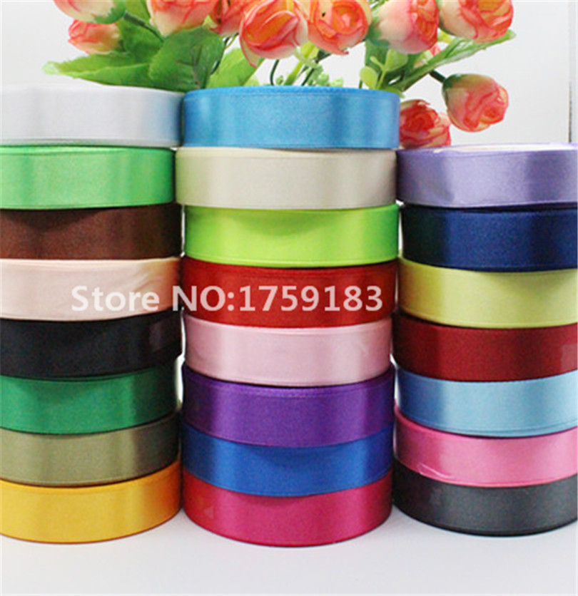 25yards width 20mm 23colors beautiful Silk Satin Ribbon Wedding Party headband Invitation Card Gift Wrapping Supplies