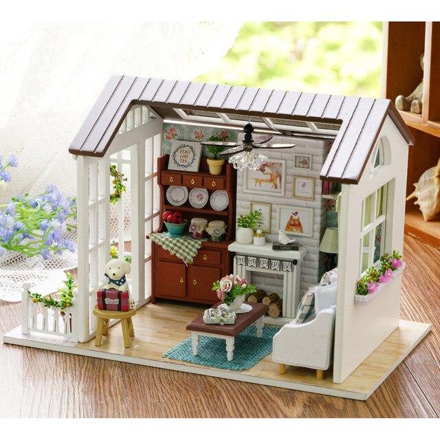 Doll House Furniture Miniatura DIY Doll Houses Miniature Dollhouse Wooden  Handmade Toys For Children Birthday Gift