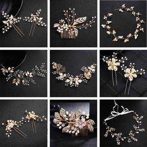 QYY Jewelry Headpieces Hair-Accessories Pearl-Clips Flowers Bridal-Hair Wedding Gold