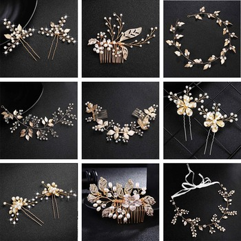 QYY Fashion Pearls Gold Wedding Hair Accessories Flowers Bridal Hair Jewelry Hair Pins Pearl Clips for Women Headpieces 1