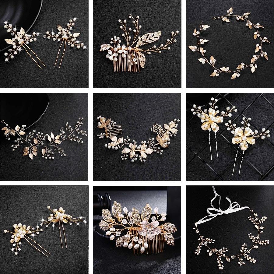 Женские жемчужные Заколки QYY, модные золотые свадебные аксессуары для волос с цветами, украшения для волос, заколки с жемчугом для волос