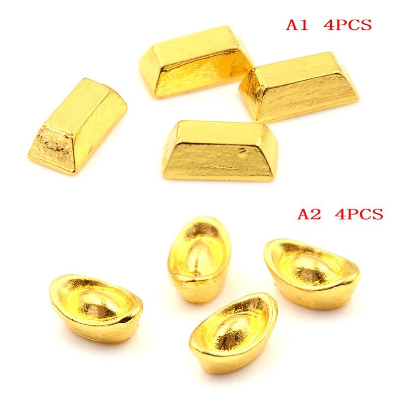 4pcs 1:12 Scale Miniature  Mini Furniture Toy Accessories Dollhouse Gold Ingot Model For Dollhouse Decor