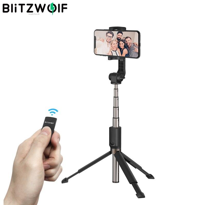 BlitzWolf BW-BS4 3 in 1 Bluetooth Wireless Selfie Stick Handheld Mini Faltbare Erweitert Tragbare Stativ Einbeinstativ für Smartphones