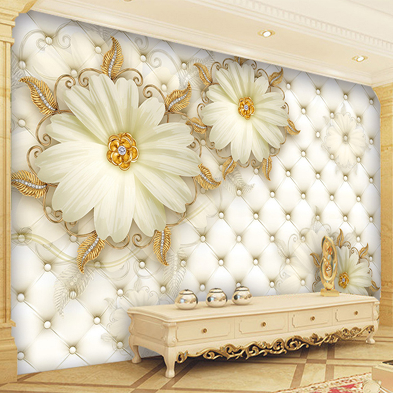 European Style 3D White Flowers Jewelry Luxury Wallpaper Photo ...