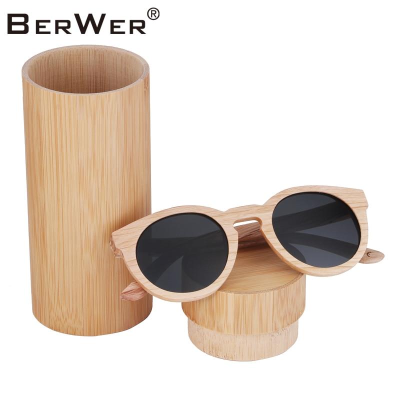 BerWer 2018 Gafas de sol Madera Gafas de sol de bambú Mujer Moda Espejo Gafas de sol Mujer Marca Gafas de diseñador