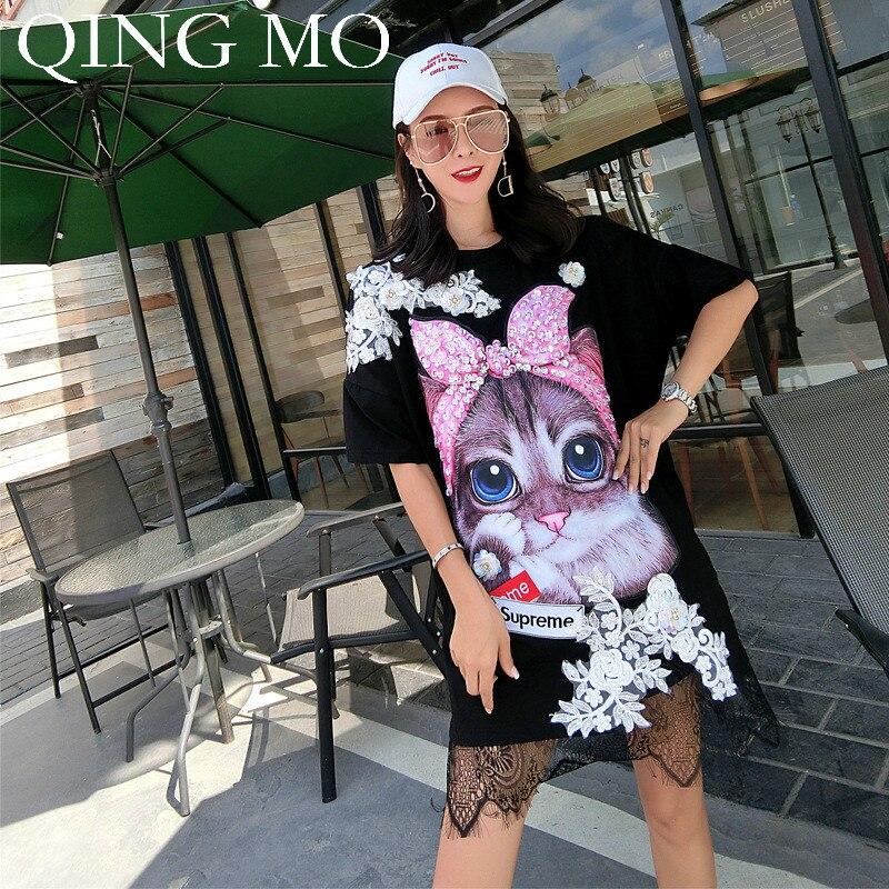 QING MO noir rose blanc chat canard imprimé robe femmes dentelle Patchwork Sequin robe femmes 2019 robe d'été ZQY576