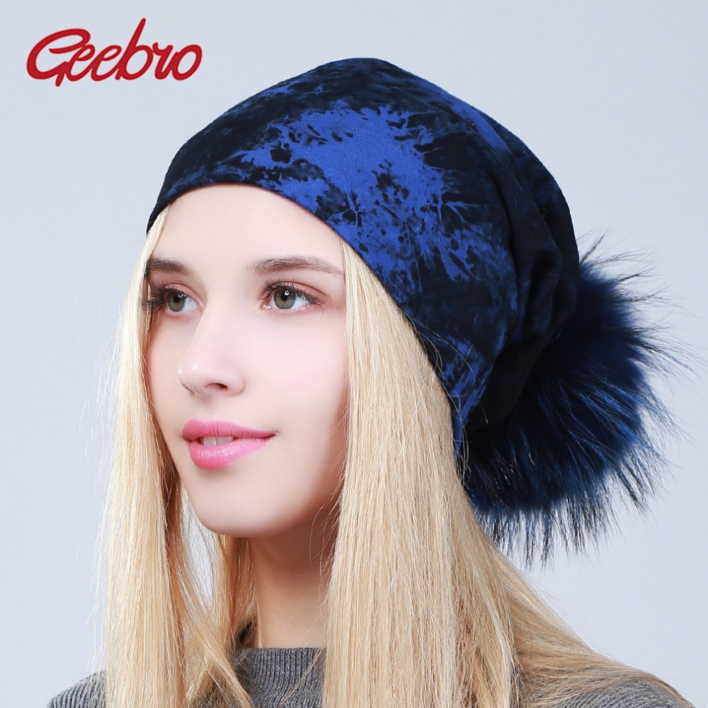 Geebro Women's Tie Dye   Beanies   Hat with Pompom Spring Casual Cotton Hats Ladies 100% Raccoon Fur Pompon   Skullies     Beanies   DQ073B