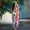 2016 Bohemian estilo Flor Imprimir Mulheres Vestido Longo Plus Size Vestido de Verão solta Com Decote Em V Casual Vestido Boho Robe Longue Femme A079