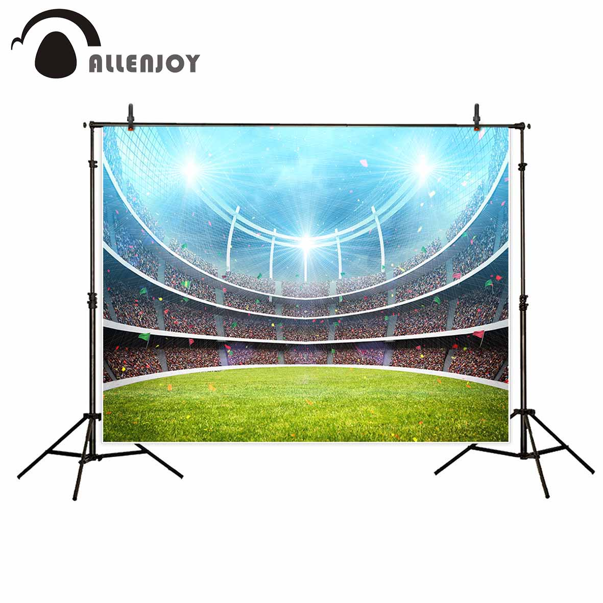 Allenjoy photo background Soccer Football field crowd ribbons lawn background for photo photo booth new photographic backdrops