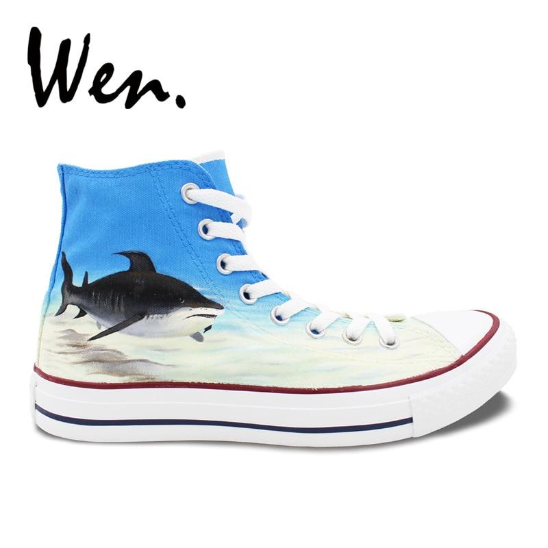 Wen bleu peint à la main chaussures Design personnalisé requin en bleu mer haut hommes femmes toile baskets pour cadeaux d'anniversaire
