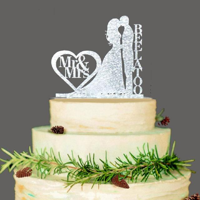 Personalized Wedding Cake Topper, Wedding Decoration, Acrylic Silver  Glitter, Custom Wedding Cake Topper