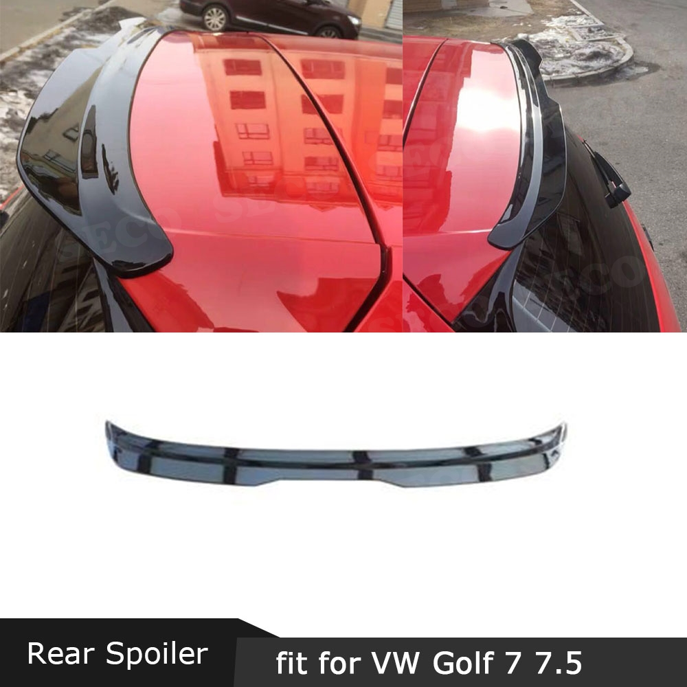 <font><b>Carbon</b></font> Fiber / ABS Rear Roof Spoiler Back Window Wings for Volkswagen <font><b>VW</b></font> <font><b>Golf</b></font> <font><b>7</b></font> <font><b>7</b></font>.5 VII MK7 MK7.5 GTI R Rline Wagon 2014-2019 image