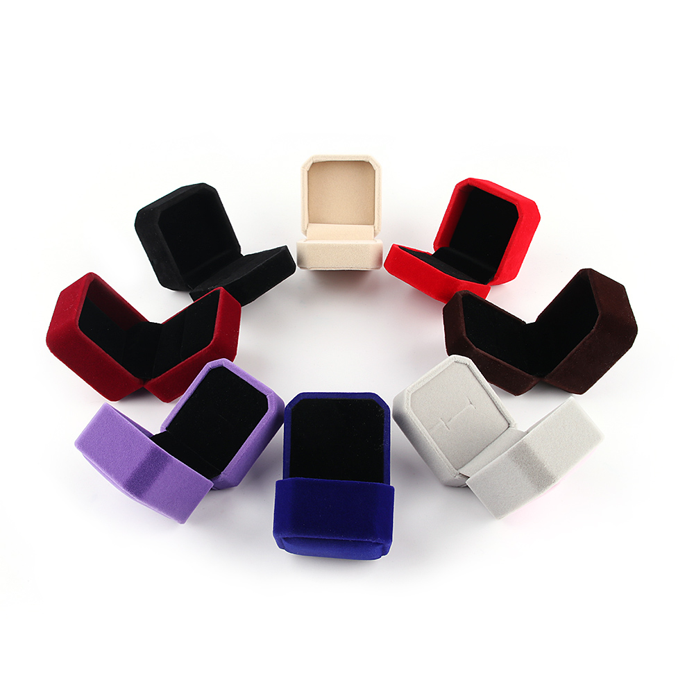 Hot 8 Colors Velvet Engagement Wedding Earring Ring Pendant Jewelry Display  Storage Box Case(china