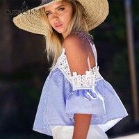 2017 Lace Blusas Sexy Off Shoulder Blusa Women Tops V Neck Blouse Strip Shirt Crochet Peplum