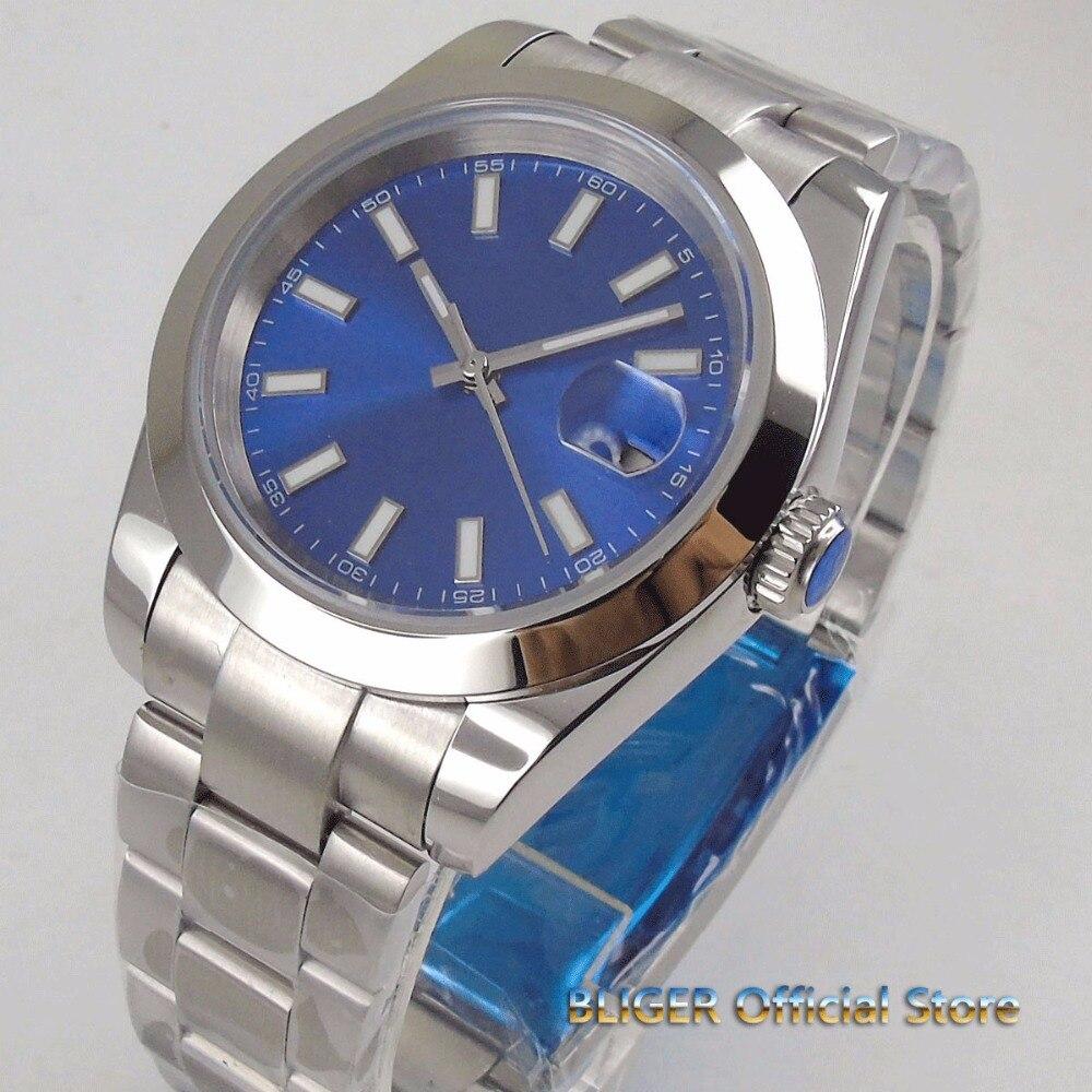 Fashion 40mm blue dial horloge mannen datum vergrootglas lichtgevende saphire glas gepolijst bezel MIYOTA 8215 Automatische beweging-in Mechanische Horloges van Horloges op  Groep 1