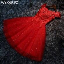 LYG A5 # Bruidsmeisjekleding Boor Lace Up Rode En Witte Korte Wedding Party Prom Dress Groothandel Bruid Trouwen Meisjes Afstuderen