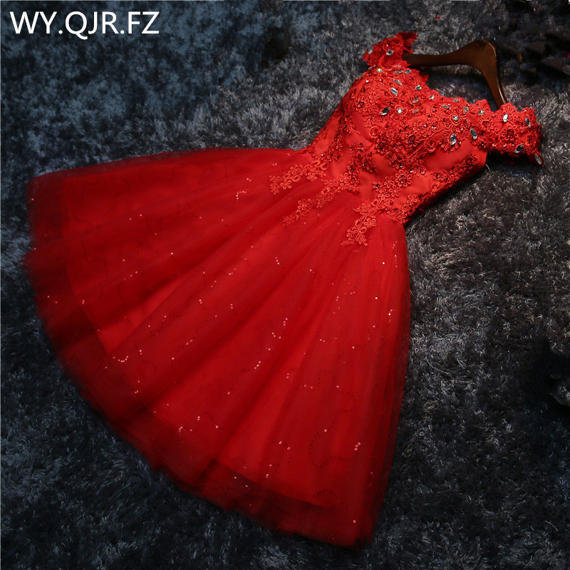LYG-A5#Drill new lace up red white lace up short wedding party prom   dress   2019 wholesale bride marry   Bridesmaid     Dresses   girls