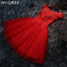 LYG A5 # abiti da damigella donore trapano allacciato rosso e bianco breve abito da ballo festa di nozze allingrosso sposa sposa laurea ragazze