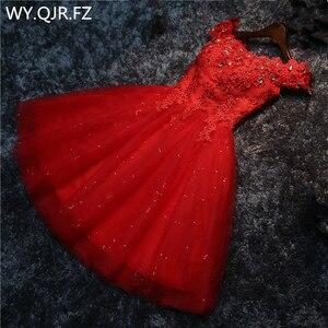 Image 1 - LYG A5 # vestidos de dama de honra broca rendas acima vermelho e branco curto festa de casamento vestido de baile de formatura atacado noiva casar meninas graduação