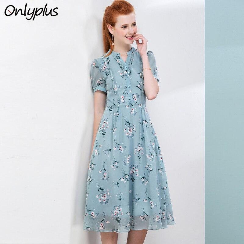 ONLY PLUS 2018 New Beach Summer Casual Dress Blue Open chest Flower Print Chiffon Dresses Slim Elegant Female Clothes Knee