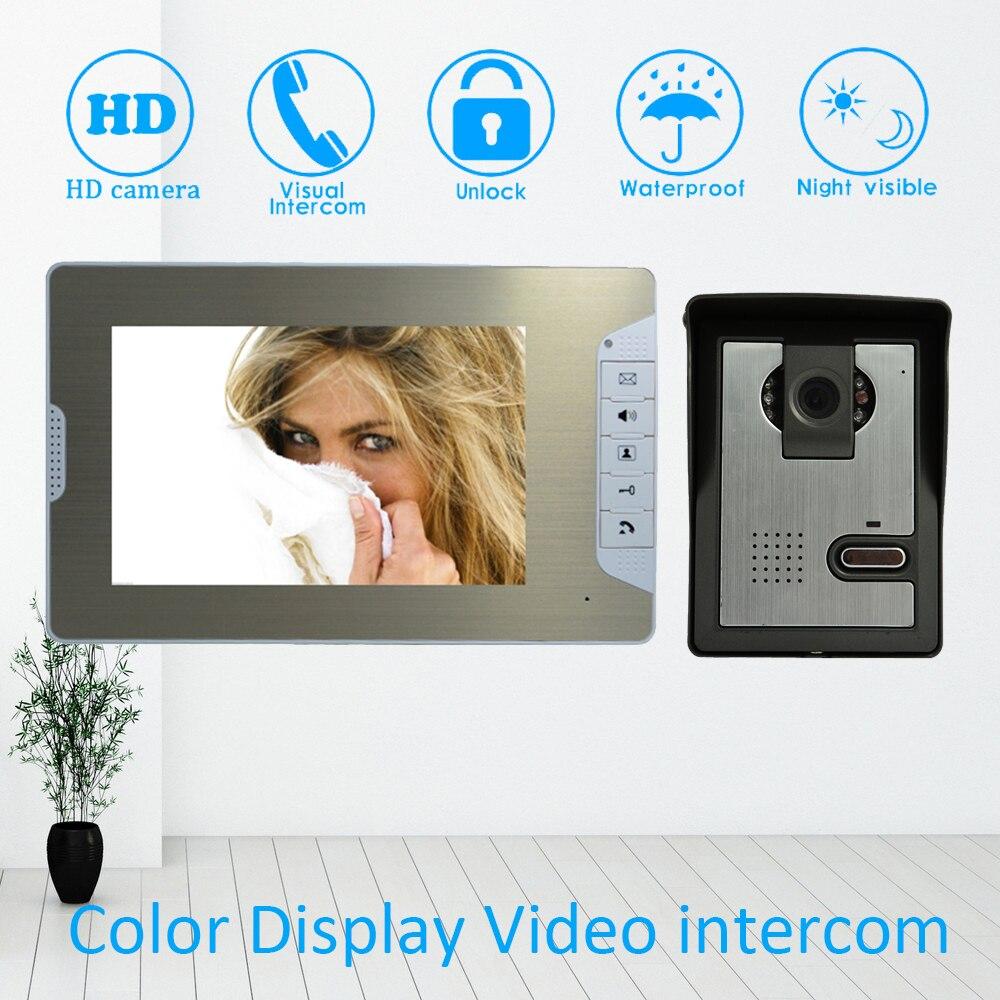 (1 Set) Metal Housing Home Intercom System One To One Doorphone Video Intercom 7inch Nigth Version Doorbell Talkback Door Phone