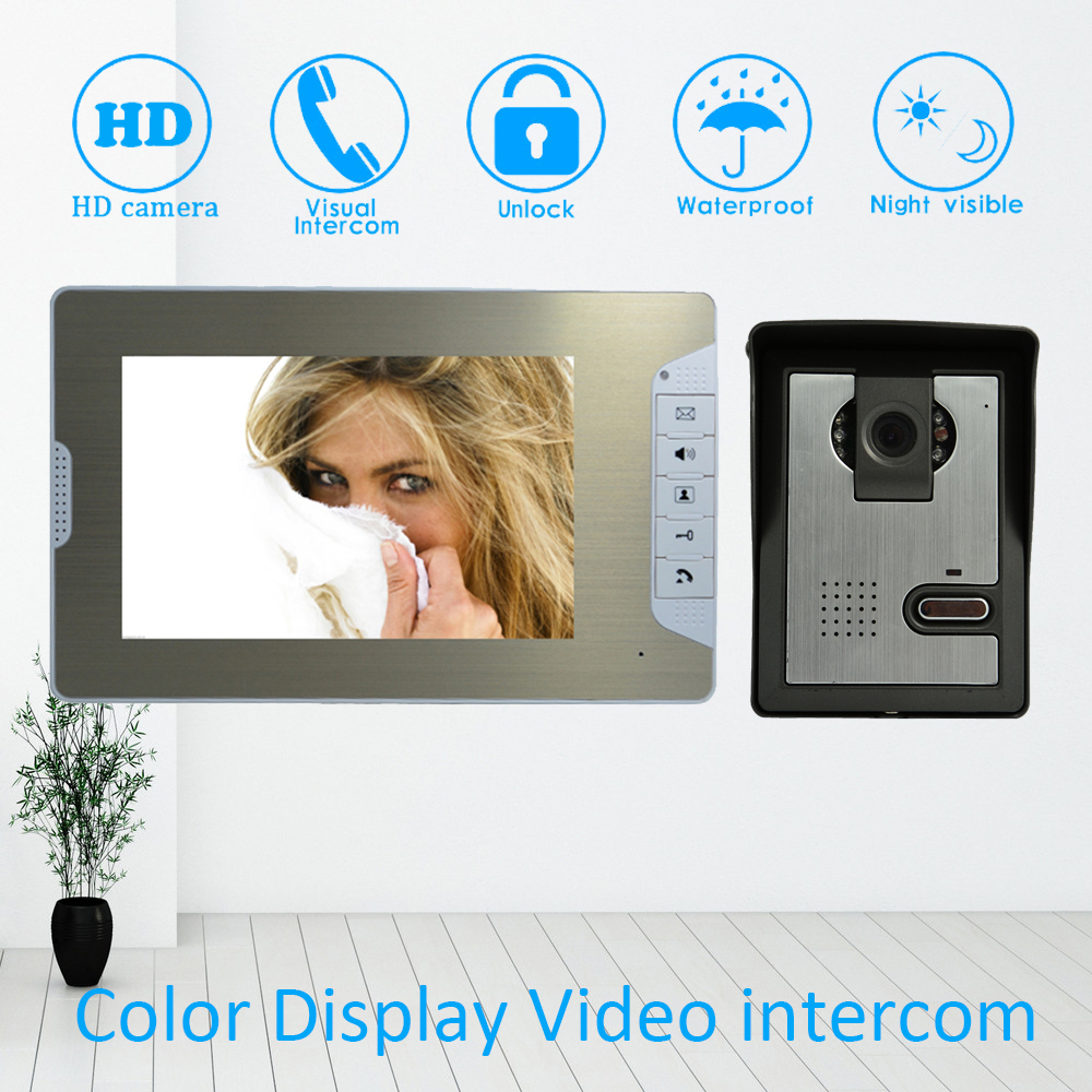 (1 set) Metal housing Home intercom system one to one Doorphone Video intercom 7inch nigth version Doorbell talkback Door phone