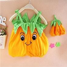 Baby Newborn Baby Photography Props Infant Costume Cute Watermelon Pumpkin Jumpsuit+Hat 2pcs Cotton Infant Kids Sets(China)