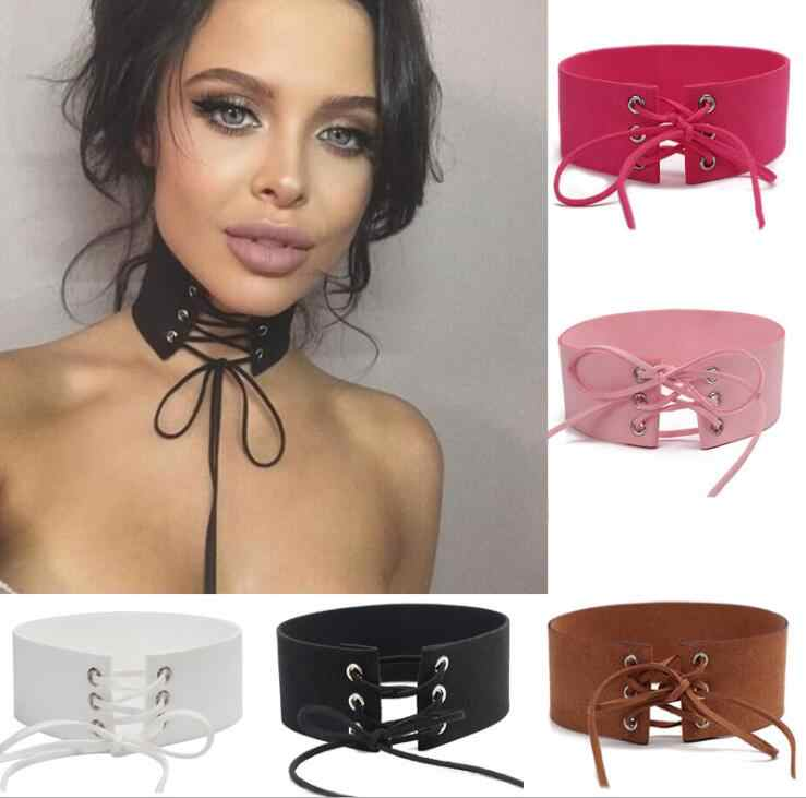 2016 Super Fashion Tie Up Lace Up Choker Sexy Statement Necklace Jewelry for Women Multicolor Faux Suede Leather Chokers New Hot