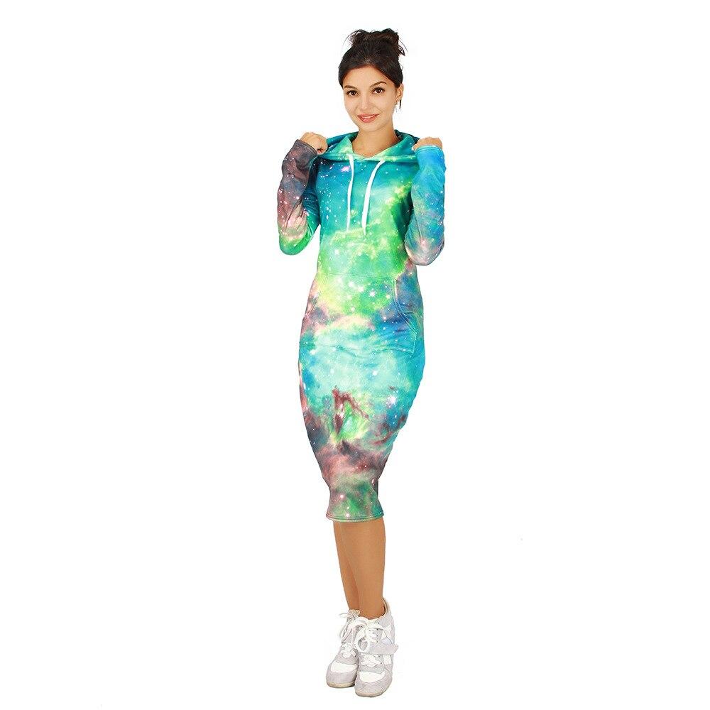 Hiver Europe et états-unis Explosions de femmes vert étoile impression numérique polaire épaississement robe pull à capuche