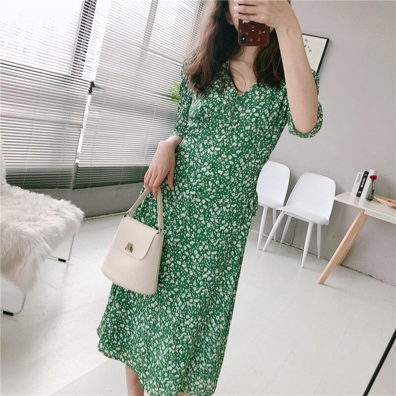 2019 été Floral robe rétro col en V Slim Midi en mousseline de soie robe à lacets français élégant plage robe Vintage femmes vert Sexy robe