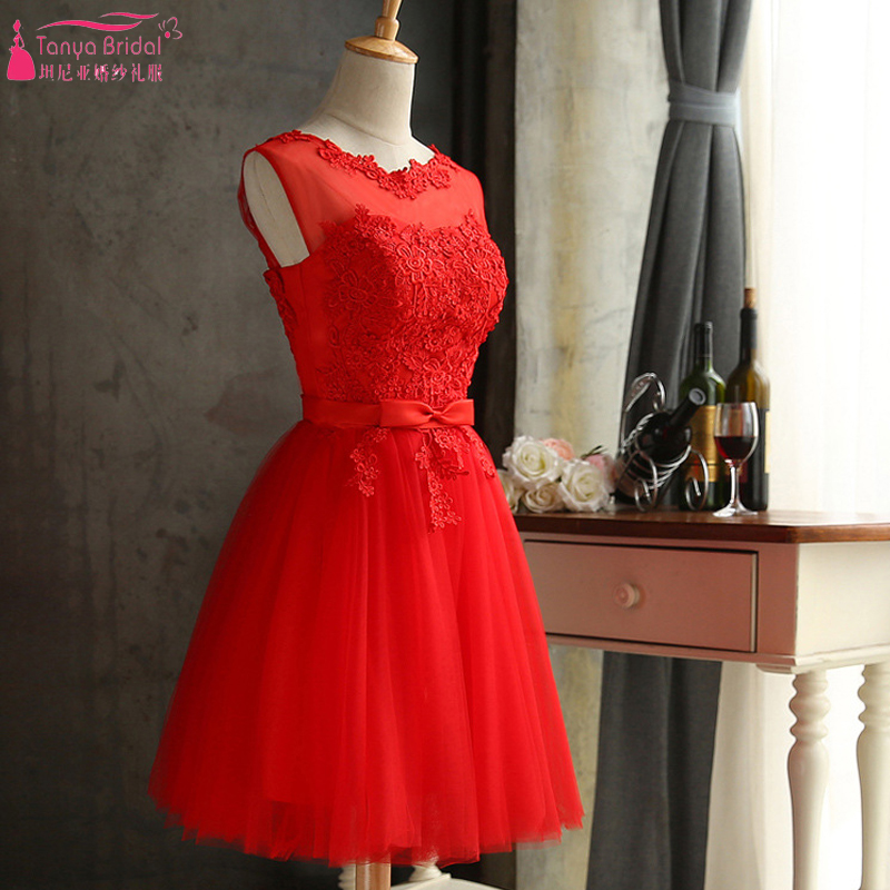 Red Lace Wedding guest Dress Knee Length African Hot Cheap Bridesmaid  Dancing Dresses NightWear ZB014
