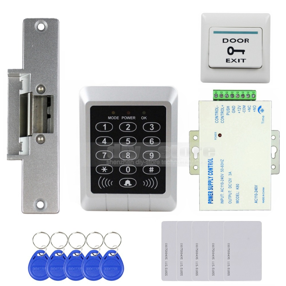 DIYSECUR Full Complete 125KHz Rfid Reader Keypad Card Door Access Control Kit + Strike Lock For Office / Home Improvement scarlett sc wcd12pl