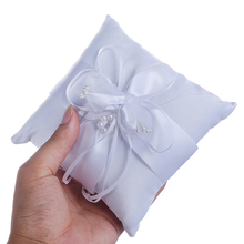 15cm White Square Wedding Ring Pillow Coussin Alliance Bridal Bearer Cushion Marriage Ceremony Decoration