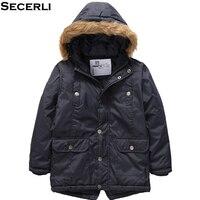Kids Boys Winter Jacket 3 to 15Y Boys Outdoor Parkas Jacket Windproof Hooded Children OutWear Boys Warm Coat Clothes