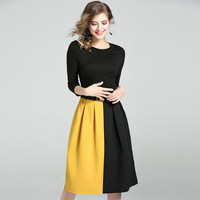 HMCHIME Autumn Women Off Shoulder Dress Fashion Sexy Long Sleeve Round Collar Collect Waist Splicing Dress