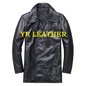Image 2 - YR!Free shipping.classic black casual leather jacket,mens slim genuine leather coat.plus size,warm business cowhide overcoat