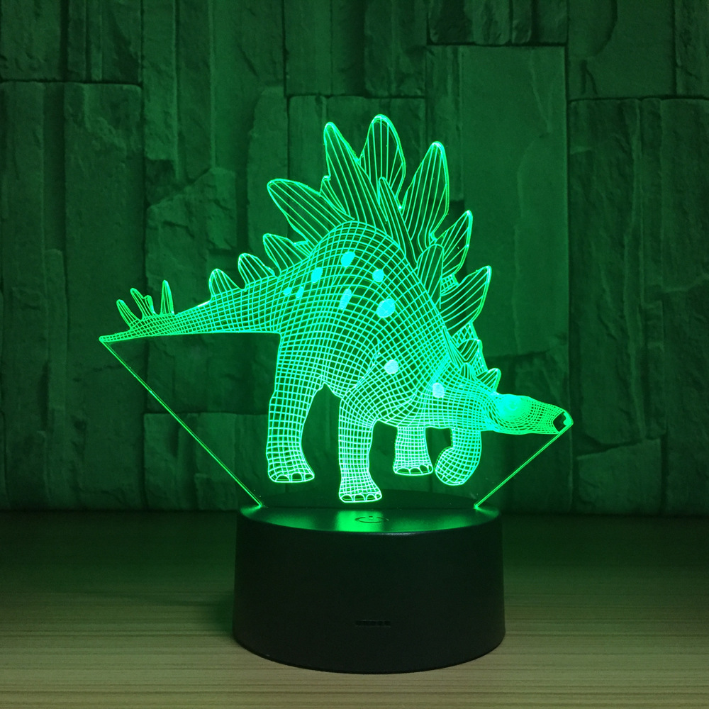 Stegosaurus Dinosaur 3D LED Lamp Touch Switch Desk Light Night Light 7 Colorful USB LED Table Acrylic Lamp Home Decor Kids Gifts