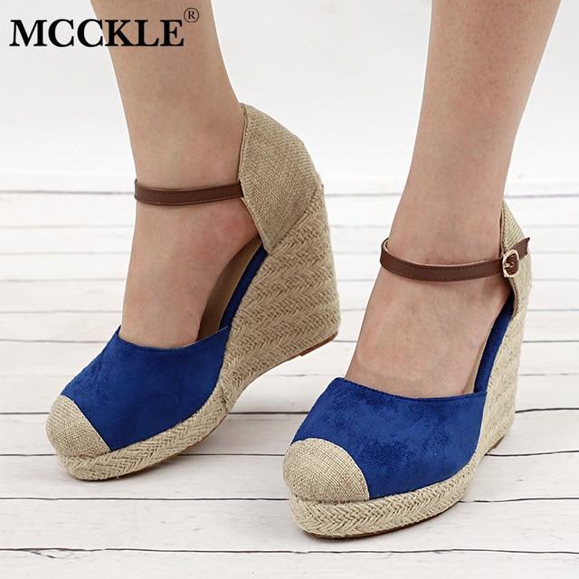 MCCKLE Kadınlar Için Yüksek Topuklu Ayakkabılar Sonbahar Takozlar Sandalet Platformu Kadın Toka Kayış Ayakkabı Moda Süet Parti Düğün Gladyatör Ayakkabı