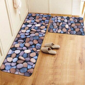 50X80+48X118CM/Set Thin Cobblestone Kitchen Mat Home Entrance/Hallway Doormat Anti-Slip Bathroom Carpet Balcony/Sliding Door Rug