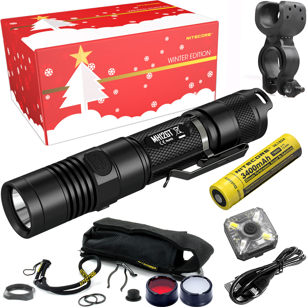 NITECORE MH12GT Riding Holiday Gift Set 1000Lumens USB Rechargeable Flashlight for Outdoor Bicycle Portable Torchs Free Shipping 2017 nitecore riding holiday gift set mh12 1000lms usb rechargeable flashlight for outdoor bicycle portable torchs free shipping