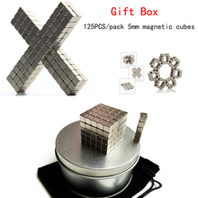 125pcs/set 5*5*5mm Magnetic Cubes gift box Strong Rare Earth magnet 5 gram 99 95% terbium tb rare earth metal element 65