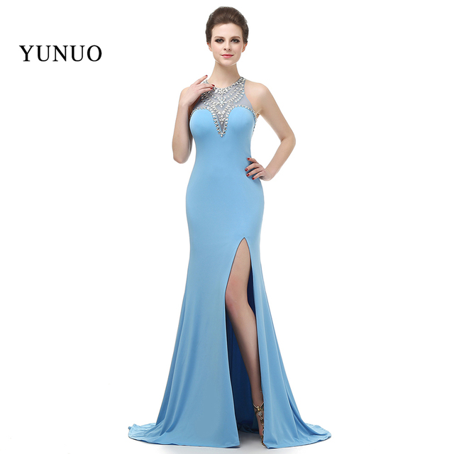 5c35ba15db81 € 81.71 36% de DESCUENTO|Vestido Longo 2018 sirena vestidos de noche con  abertura larga Sexy sin espalda cielo azul fiesta de noche elegante nueva  ...