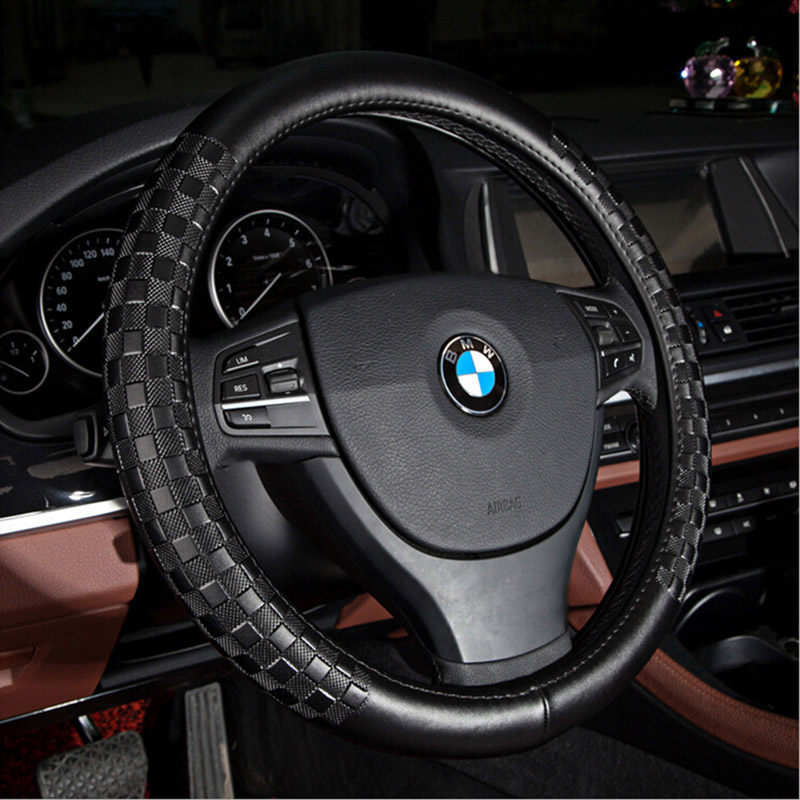 Black Genuine Leather Car Steering Wheel Cover Multi Choice Size M Diameter 38cm Automotive Interior Steering Wheel Accessories new 38cm genuine leather auto car steering wheel cover soft anti slip car steering cover black braid with needles and thread