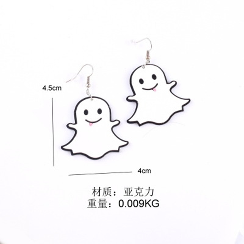 2019 new fashion acrylic white cute hallowmas The little ghost drop earrings for men women best gift Halloween jewelry in Drop Earrings from Jewelry Accessories