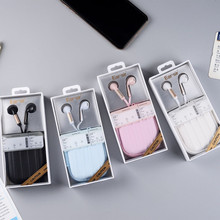Luxury Earphone box Stereo Earphones 3.5mm in-ear Wired Earbuds with mic Earphone Case for Travel iPhone Xiaomi Girls MP3 Gifts(China)